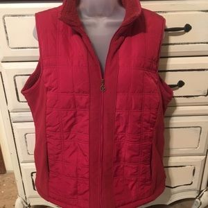 Women's Red Columbia Vest with Faux Fleece Lining